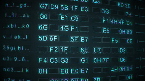 Rows of digital data code on retro monitor seamless loop animation Animation