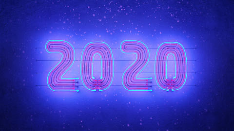 Neon text 2020 on wall and snowfall seamless loop 3D render animation Animation