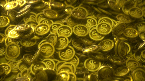 Pile of gold coins with light glares 3D render seamless loop animation Animation