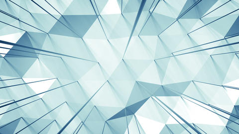 Light blue surface with triangular polygons seamless loop 3D render animation Animation