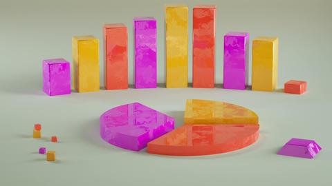 Economic colorful chart graphs 3D render animation Animation