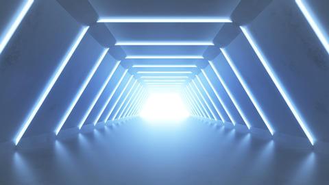 Modern blue corridor 3D render seamless loop animation Animation