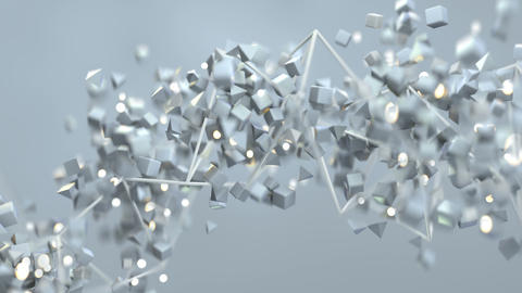 White geometric objects are floating spirally seamless loop 3D render animation Animation
