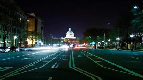 Night road in the US. By way of visible capitol. On the way Ride car with Live Action