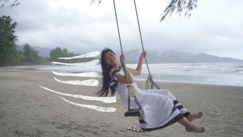 Asian Woman in white dress swinging with drawn traces Live Action