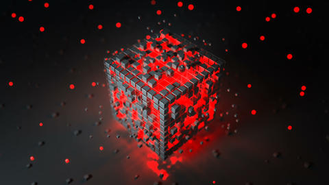Cubic shape with red illuminating blocks seamless loop 3D render animation Animation