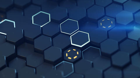 Closeup shot of glowing honeycomb surface seamless loop 3D render animation Animation