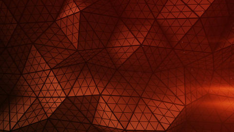 Red triangulated shape with polygons loopable 3D render Animation