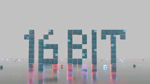 Text 16 bit of glowing pixels seamless loop 3D render animation Animation