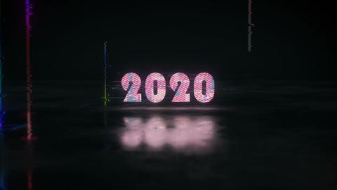Glow glitch text 2020 replaces 2019 3D render animation Animation