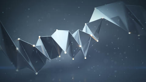 Hard surface twisted shape and particles loopable 3D render animation Animation