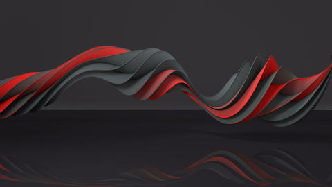 Red and gray twisted spiral shape spinning seamless loop 3D render animation Animation