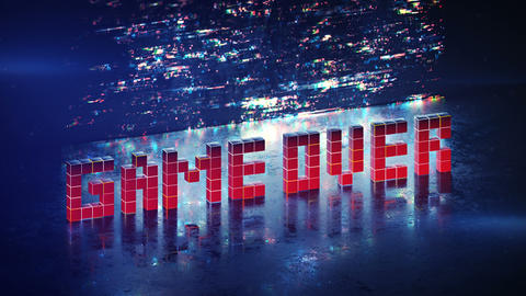 Game over phrase in pixel art seamless loop 3D render animation Animation