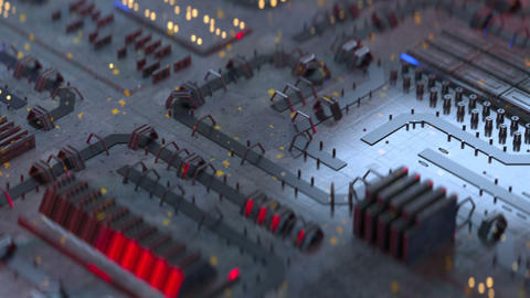 High tech electronic board seamless loop 3D render animation Animation