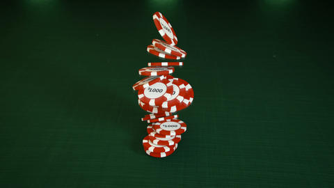 Falling stack of red casino chips 3D render animation Animation