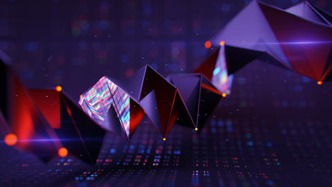 Polygonal shape with flashing light seamless loop 3D render animation Animation