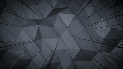 Dark gray polygonal shape with lines seamless loop 3D render animation Animation