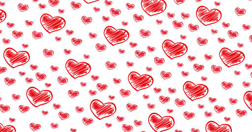 Romantic hand drawn pattern with doodle red hearts. For St. Valentines Day Live Action