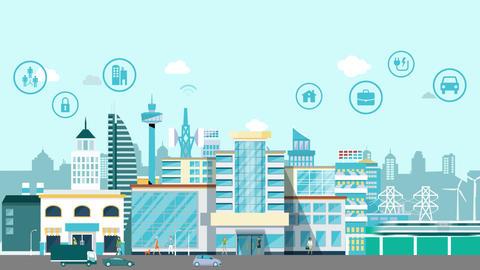 Smart city motion infographic design Animation