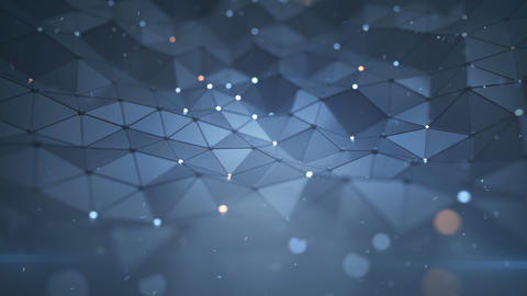 Low poly surface with glowing nodes seamless loop 3D render animation Animation