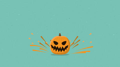 Halloween pumpkin jumping seamless loop hand drawn style animation Animation