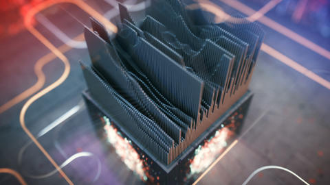 Equalizer meter with dynamic waves seamless loop 3D render animation Animation