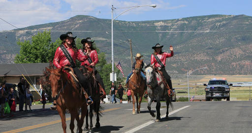 4th July Parade Rodeo Royalty on horses DCI 4K Footage