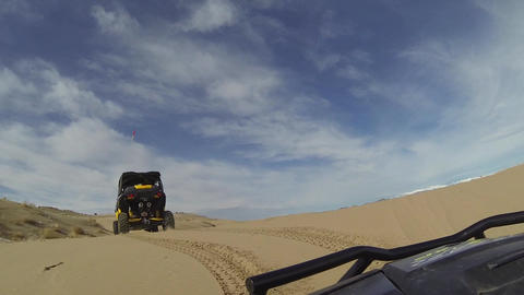 4x4 Recreation following friend in desert POV HD Live Action