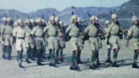 Aden British Army Levy soldiers marching guns HD D002 Footage