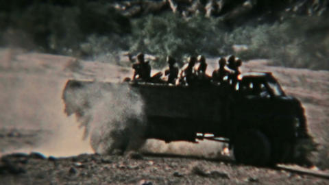 Aden Protectorate Army soldiers truck convoy vintage film HD 0128 Footage
