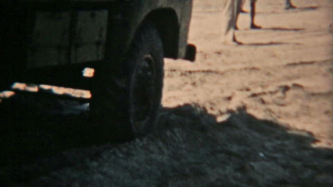 Aden Protectorate Levies military truck in sand Vintage 8mm film HD 0127 Footage