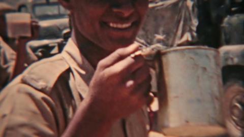 Aden Protectorate desert British convoy lunch vintage 8mm film HD 0127 Footage