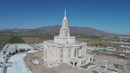 Aerial Mormon LDS Payson Utah Temple construction HD 0038 ビデオ