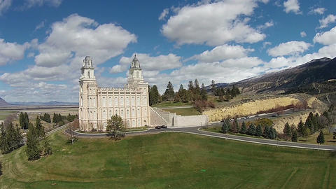 Aerial Mormon LDS Manti Utah Temple green hill HD 006 Footage