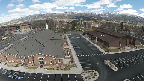 Aerial Mormon church at Snow College Ephraim Utah HD 0034 Footage