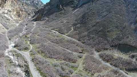 Aerial Rock Canyon mountain trails HD 051 Footage