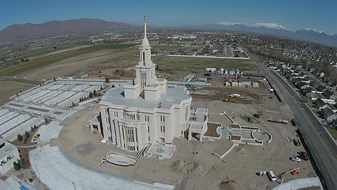 Aerial construction Payson Utah Mormon LDS Temple HD 0023 ビデオ