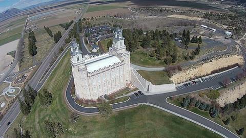 Aerial overhead Manti Utah Mormon Temple HD 0013 ビデオ