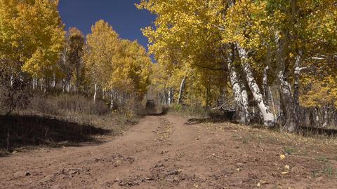 Autumn 4x4 recreation vehicle drives away mountain trail 4K Footage