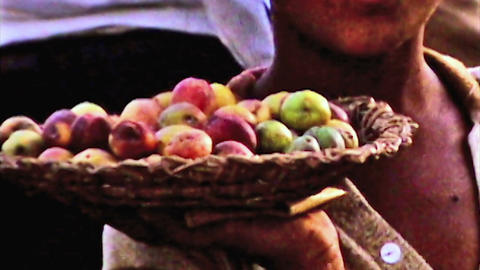 Bahrain public market boy sells fruits vintage film 1960 HD D001 Footage