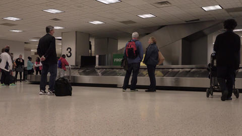 Baggage claim Bush international airport passengers 4K Footage