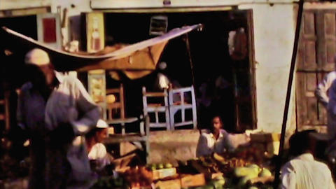 Bahrain public market selling fruit vegetable vintage film 1960 HD D001 Footage