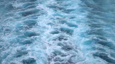 Beautiful Caribbean Ocean wake behind cruise ship 4K Footage