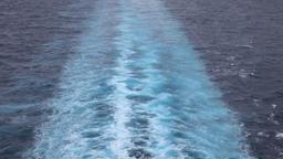 Beautiful Caribbean Ocean cruise ship wake 4K Footage