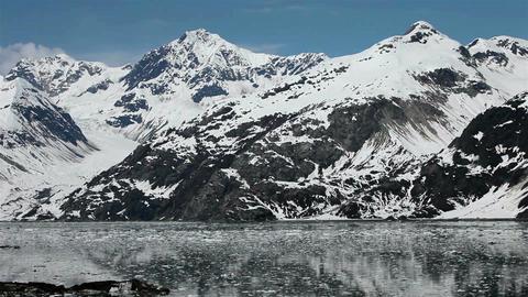 Beautiful Glacier Bay Alaska iceberg floating ice mountains HD 1447 Footage