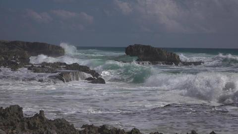 Beautiful Cozumel Mexico rocky shore surf 4K Footage