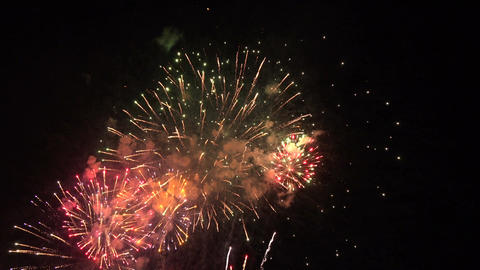 Beautiful fireworks 4th July 4K 092 Footage