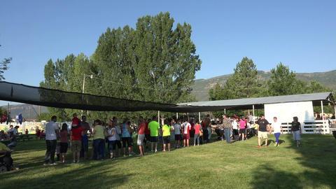 Breakfast line at annual community festival 4K Footage