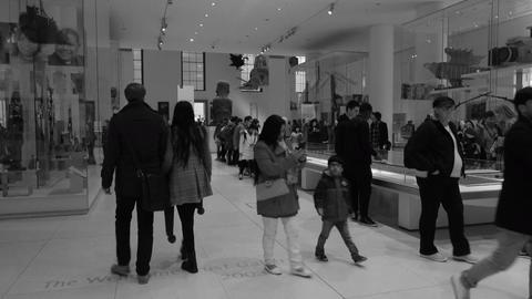 British Museum education history tourists BW 4K Footage