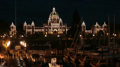 Canada Parliament Building Victoria BC marina at night HD 7941 Footage